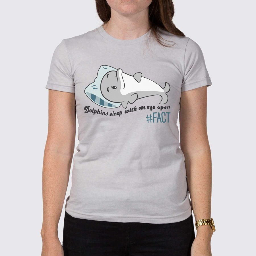 Dolphins sleep with one eye open womens t shirt the fact for Dolphins t shirt new logo