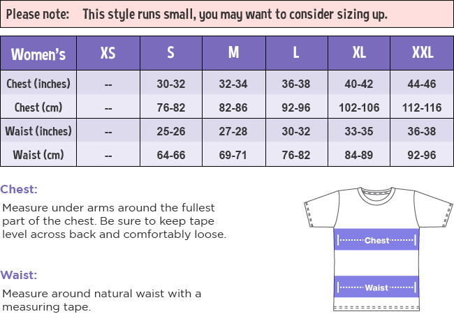 Women's T-Shirt Size Guide