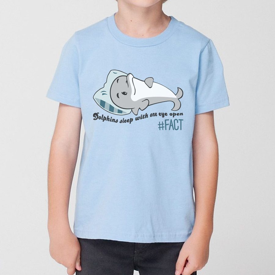 dolphins sleep with one eye open kids t shirt the fact shop