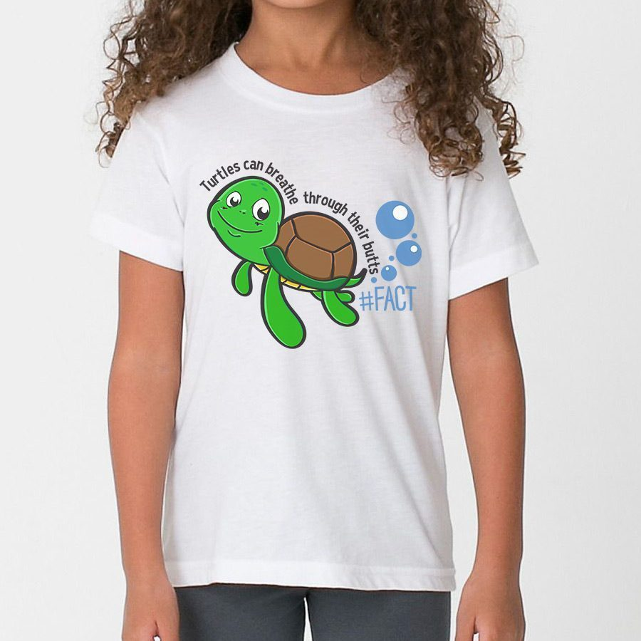 Turtles breathe through their butts kids t shirt the for Green turtle t shirts review