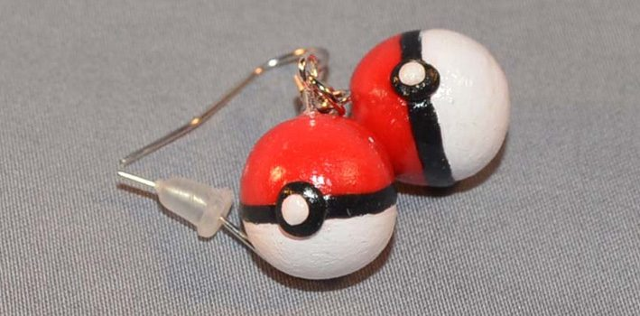 Handmade Pokeball earrings