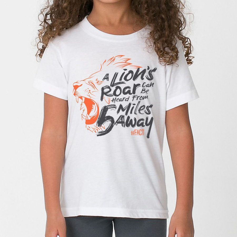 A lion 39 s roar can be heard from 5 miles away kids t shirt for Miles t shirt shop
