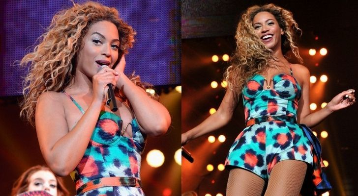 Beyoncé wearing a Kenzo outfit while singing on stage