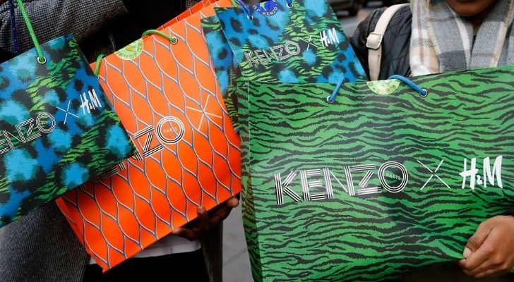 Lots of vibrant Kenzo H&M shopping bags