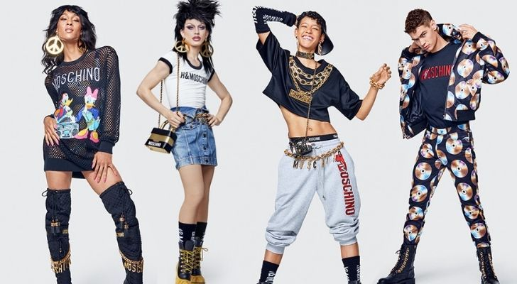 Four different Moschino X H&M outfits
